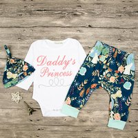 Baby Girl's Daddy's Princess Bodysuit Floral Pants and Hat Set