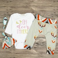 3-piece Letters Print Long-sleeve Bodysuit and Deer Print Pant Hat for Baby Boy