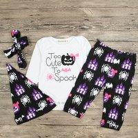 Baby Girl's Spider Print Long-sleeve Bodysuit Pants and Headband Hat Set