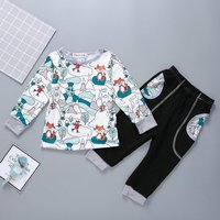 Pretty Forest Fox Pattern Top and Pants Set for Toddler Girl