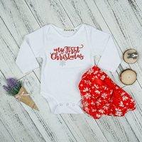 Stylish Christmas Theme Long-sleeve Bodysuit and PP Shorts Set for Baby Girl