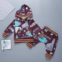 Cool Football Letter Print Hooded Top and Pants Set for Baby Boy