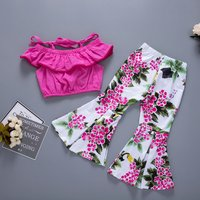 Sassy Solid Short-sleeve Top and Floral Flare Pants Set for Baby Girl