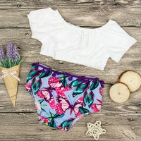 Sassy Solid White Top and Butterfly Patterned Pantie Set for Baby Girl