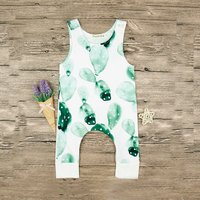 Trendy Cactus Patterned Sleeveless Jumpsuit for 9-12 Months Baby
