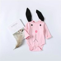 Lovely Rabbit Design Long-sleeve Romper in Pink for Baby Girl