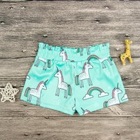 Casual Unicorn and Rainbow Patterned Shorts for Toddler Girl