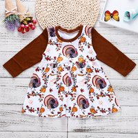 Thanksgiving Turkey and Pumpkin Patterned Long-sleeve Dress for Baby and Toddler Girl