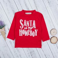Stylish Letter Print Long-sleeve Top in Red for Toddler Boy