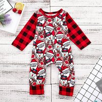 Cool Christmas Element Plaid Long-sleeve Jumpsuit for Baby
