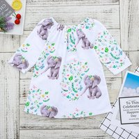 Lovely Elephant and Wreath Pattern Long-sleeve Dress for Baby and Toddler Girl