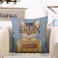 Lovely Cat Graphic Zip Pillowcase in Blue