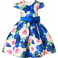 Wonderful Floral Pattern Bow Zip-up Dress for Girl
