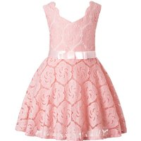 Elegant Solid Sleeveless Dress with Bowknot Waistband for Girls
