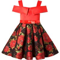 Elegant Floral Pleated Off-shoulder Dress with Bowknot Decor for Girls