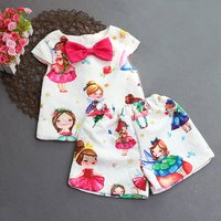 Lovely Princess Print Cap-sleeve Bowknot Top and Shorts Set for Toddler Girl