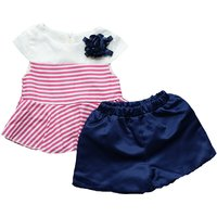 Fresh Striped Cap-sleeve Dress and Shorts Set for Girl