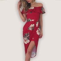 Sexy Off Shoulder Floral Ruffled Dress for Women