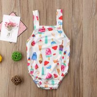 Cute Ice Cream Print Strap Bodysuit for Baby Girl