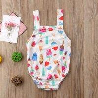 Cute Ice Cream Print Strap Bodysuit for Baby Girl