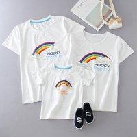 HAPPY FAMILY Rainbow Print Short-sleeve Family T-shirt in White