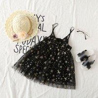 Pretty Star Print Mesh Layered Slip Dress for Toddler Girl and Girl