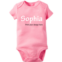 Customize Short-sleeve Pink Baby Bodysuit