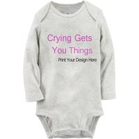 Customize Add Personalized Text Long-sleeve Baby Bodysuit
