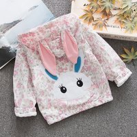 Cute Floral Rabbit Applique Hooded Jacket for Baby and Toddler Girl