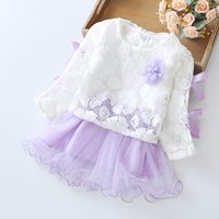 2-piece Pretty Lace Long-sleeve Top and Tulle Skirt Set for Baby and Toddler Girl