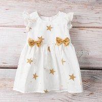 Lovely Star Print Flounce-sleeve Dress for Baby Girl
