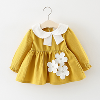 Cute Flower Appliqued Long-sleeve Dress for Baby Girl