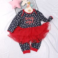 Sweet Little Angel Embroidery Long-sleeve Skirt Jumpsuit for Baby Girls