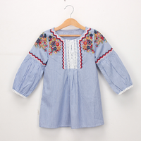 Chic Embroidered Long-sleeve Dress for Toddler Girl and Girl