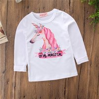 Pretty Unicorn Design Long-sleeve Tee for Baby and Toddler Girl