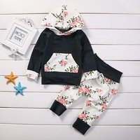 2-piece Comfortable  Floral Hooded Top and Pants Set for Baby Girl