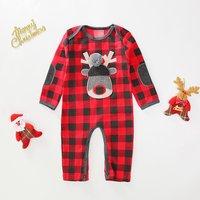 Stylish Christmas Plaid Long-sleeve Jumpsuit for Baby
