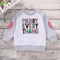 Stylish Letter Embroidered Christmas Long-sleeve Sweatshirt for Baby and Toddler