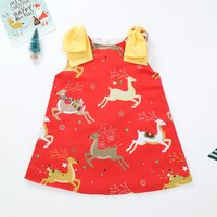 Stylish Elk Printed Sleeveless Dress for Baby and Toddler