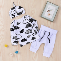 3-piece Printed Top, Drawstring Pants and Hat Set for Baby Boy
