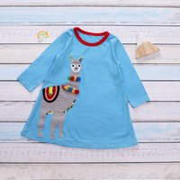 Adorable Alpaca Design Long-sleeve Dress for Baby and Toddler