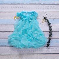 Stylish Flower Design Ruffled Sleeveless Dress for Baby