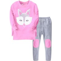 2-piece Fox Design Top and Appliqued Pants Set for Toddler Girl and Girl