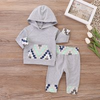 Fashionable Geometry Design Hoodie and Pants Set for Baby