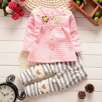 2-piece Sweet Floral Applique Top and Striped Pants for Baby Girl