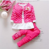 3-piece Polka Dotted Coat Letter Top and Pants Set for Toddler Girl