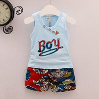 2-piece Stylish Letter Applique Tank Top and Graphic Shorts for Baby Boy