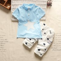 Lovely Star Print Short-sleeve T-shirt and Shorts Set for Baby Girl