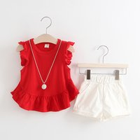 Pretty Ruffled Cap-sleeve Peplum T-shirt and Shorts Set for Baby Girl