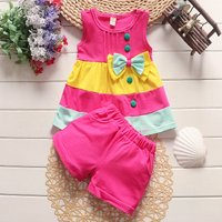 Sweet Color Block Bowknot Tank Top and Shorts Set for Toddler Girl